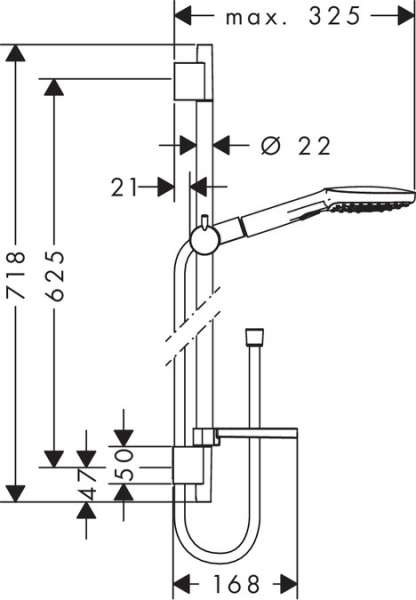 Wymiary techniczne zestawu natryskowego Hansgrohe Raindance Select E 120 26620000 -image_Hansgrohe_26620000_3