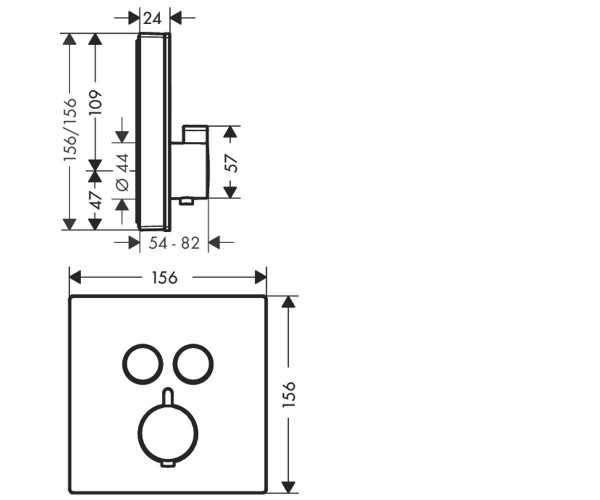 Rysunek techniczny baterii termostatycznej Hansgrohe Shower Select 15738400-image_Hansgrohe_15738400_3
