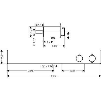 Rysunek techniczny ShowerTableta 600 13108000-image_Hansgrohe_13108000_3