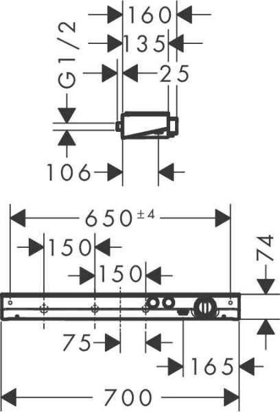 Wymiary techniczne baterii termostatycznej Hansgrohe ShowerTablet Select 700 13184000-image_Hansgrohe_13184000_3