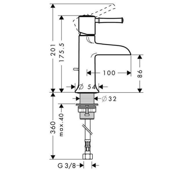 Rysunek techniczny baterii umywalkowej Hansgrohe Talis Classic 14127000-image_Hansgrohe_14127000_5