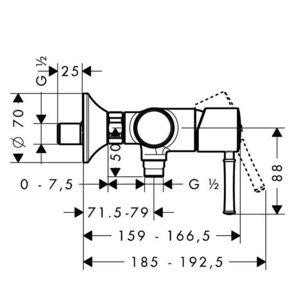 Rysunek techniczny baterii natryskowej Hansgrohe Talis Classic 14161000-image_Hansgrohe_14161000_3