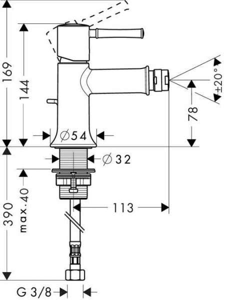 Rysunek techniczny baterii bidetowej Hansgrohe Talis Classic 14120000-image_Hansgrohe_14120000_3