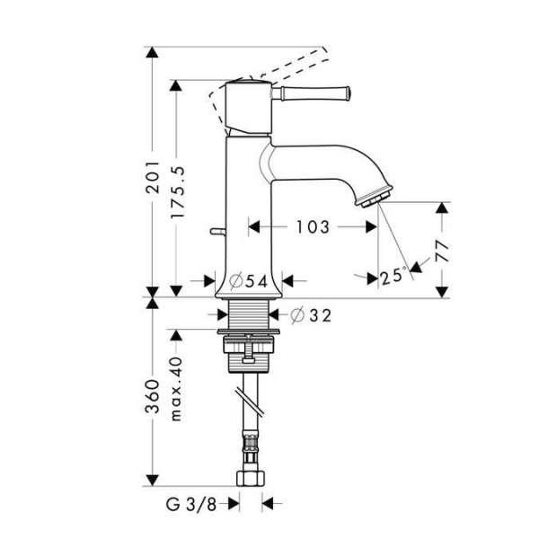 Wymiary techniczne  baterii umywalkowej z korkiem automatycznym Hansgrohe Talis Classic 14111000-image_Hansgrohe_14111000_4