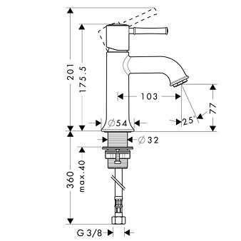Rysunek techniczny baterii umywalkowej Hansgrohe Talis Classic 14118000-image_Hansgrohe_14118000_3