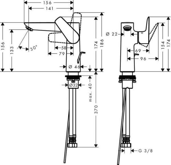 Rysunek techniczny baterii umywalkowej Hansgrohe Talis E 71754000-image_Hansgrohe_71754000_4