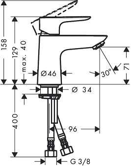 Rysunek techniczny bateri umywalkowej Hansgrohe Talis E 80 CoolStart b/k 71704000-image_Hansgrohe_71704000_3
