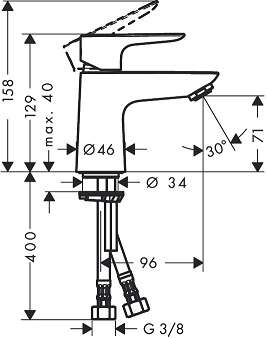 Rysunek techniczny bateri umywalkowej Hansgrohe Talis E 80 CoolStart 71703000-image_Hansgrohe_71703000_3