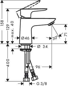 Rysunek techniczny baterii umywalkowej Hansgrohe Talis E 80 71700000-image_Hansgrohe_71700000_3
