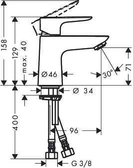 Rysunek techniczny bateri umywalkowej Hansgrohe Talis E 80 b/k 71702000-image_Hansgrohe_71702000_3