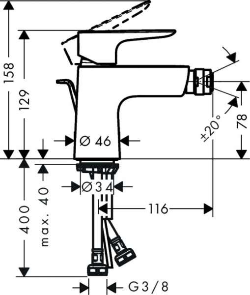 wymiary techniczne baterii bidetowej Talis 71720000-image_Hansgrohe_71720000_3