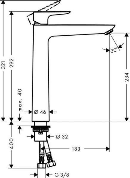 Wymiary technicze baterii umywalkowej Hangrohe Talis E 71717000-image_Hansgrohe_71717000_4
