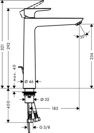 Wymiary techniczne baterii umywalkowej Talis E 71716000-image_Hansgrohe_71716000_4