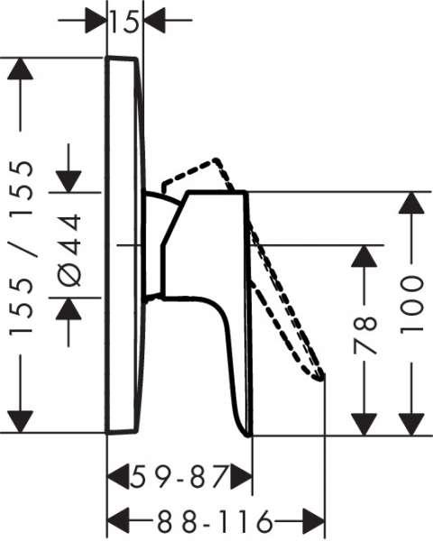 Wymiary techniczne baterii prysznicowej Talis 71765000-image_Hansgrohe_71765000_3