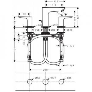 Rysunek techniczny baterii Hansgrohe Talis E 71733000-image_Hansgrohe_71733000_2