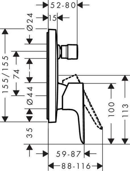 Wymiary techniczne baterii wannowej p/t Hangrohe Talis E 717450000-image_Hansgrohe_71745000_4