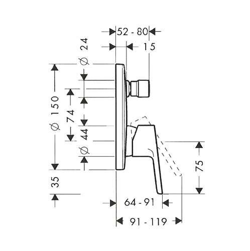 Rysunek techniczny baterii Talis Puro 31647-image_Hansgrohe_31647000_3