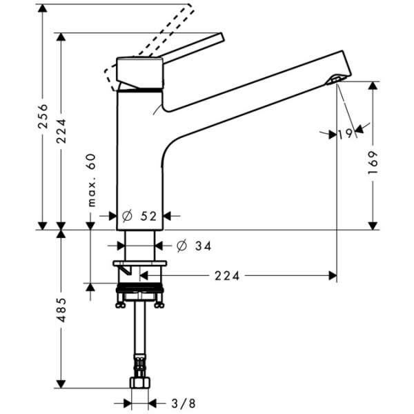 Rysunek techniczny baterii zlewozmywakowej Hansgrohe Talis S 32851000 -image_Hansgrohe_32851000_3