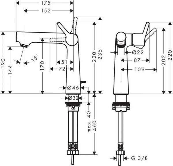 Rysunek techniczny baterii umywalkowej Hansgrohe Talis 72113000-image_Hansgrohe_72113000_3