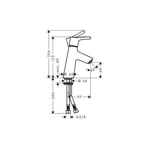 rysunek techniczny baterii umywalkowej Hansgrohe Talis 72012000-image_Hansgrohe_72012000_3