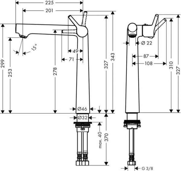 Rysunek techniczny baterii umywalkowej Hansgrohe Talis S 72116000-image_Hansgrohe_72116000_3