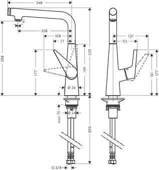 Rysunek techniczny baterii kuchennej Hansgrohe Talis S Select 72820 000-image_Hansgrohe_72820000_4