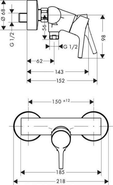 Rysunek techniczny baterii natryskowej Talis S 72600000-image_Hansgrohe_72600000_4
