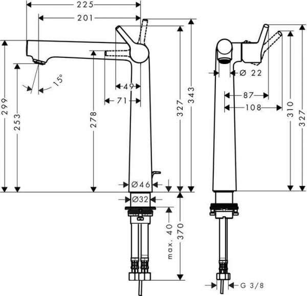 Rysunek techniczny baterii umywalkowej Hansgrohe Talis S 72115000-image_Hansgrohe_72115000_3