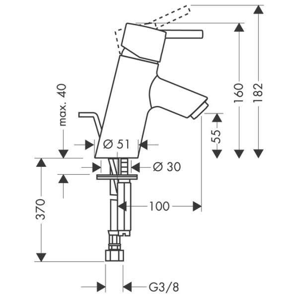 Rysunek techniczny baterii Hansgrohe Talis S 32020000-image_Hansgrohe_32020000_3