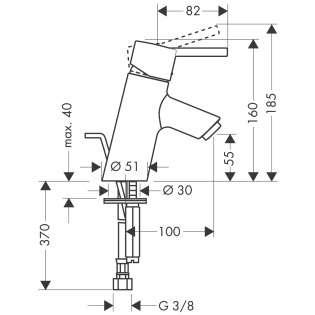 Rysunek techniczny baterii Hansgrohe 32034000-image_Hansgrohe_32034000_4