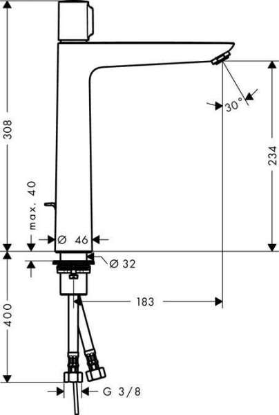 Rysunek techniczny baterii umywalkowej Hansgrohe Talis 71752000-image_Hansgrohe_71752000_3