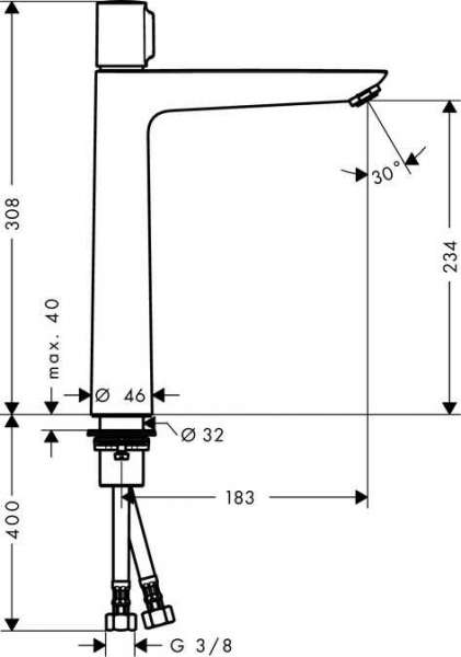 Rysunek techniczny baterii umywalkowej Hansgrohe Talis E 71753000-image_Hansgrohe_71753000_3