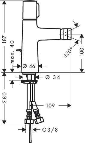 Wymiary techniczne baterii bidetowej Hansgrohe Talis Select S 72202000-image_Hansgrohe_72202000_3