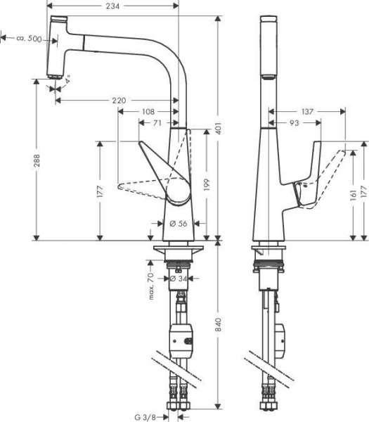 Rysunek techniczny baterii kuchennej z wyciąganą słuchawką Hansgrohe Talis Select S 72821000-image_Hansgrohe_72821000_4
