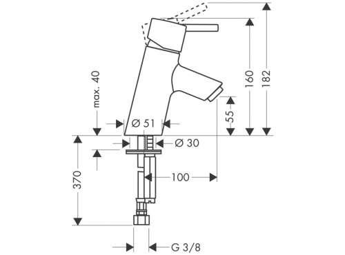 Rysunek techniczny baterii umywalkowej Hansgrohe Talis 32031000-image_Hansgrohe_32031000_3