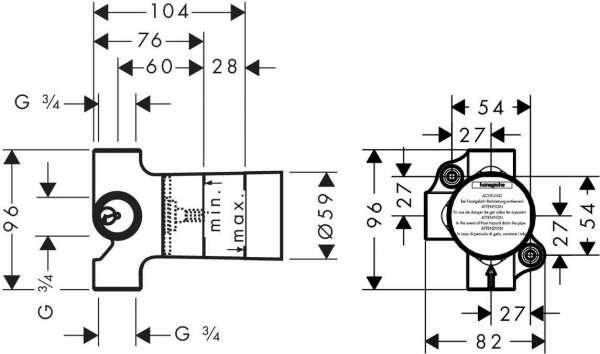 Rysunek techniczny zaworu Hansgrohe Trio 15981180-image_Hansgrohe_15981180_3