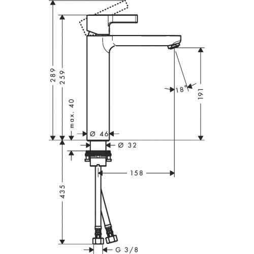 Wymiary techniczne baterii umywalkowej Hansgrohe Metris S 31026000-image_Hansgrohe_31026000_4