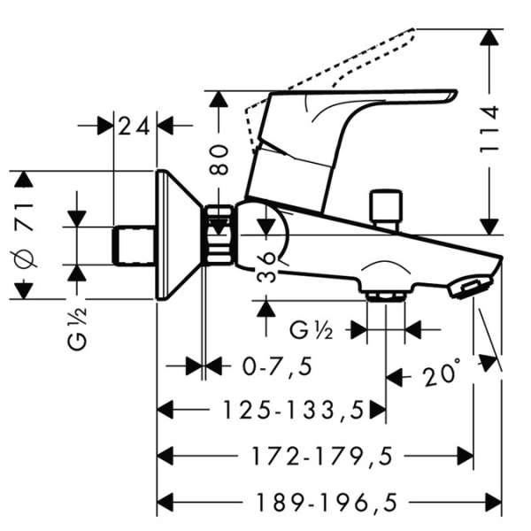 Wymiary techniczne baterii wannowej Hansgrohe Focus E2 31940000-image_Hansgrohe_31940000_3