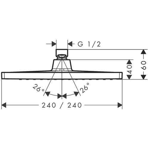 Rysunek techniczny głowicy prysznicowej  Hansgrohe Crometta 26726000-image_Hansgrohe_26726000_4