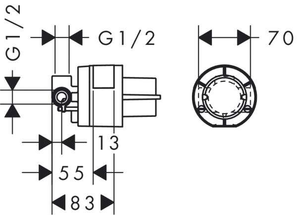 Wymiary techniczne zestawu podtynkowego do baterii prysznicowej 13620180-image_Hansgrohe_13620180_3