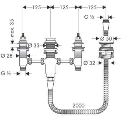 Wymiary techniczne podstawowego do baterii 4 otworowej Hansgrohe 13244180-image_Hansgrohe_13244180 _4