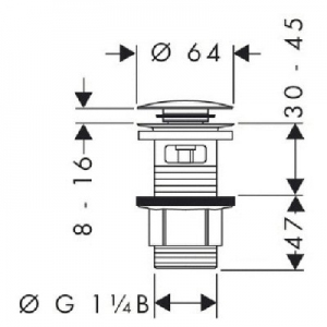Dane techniczne Hansgrohe komplet odpływowy Push-Open G11 50105000-image_Hansgrohe_50105000_2