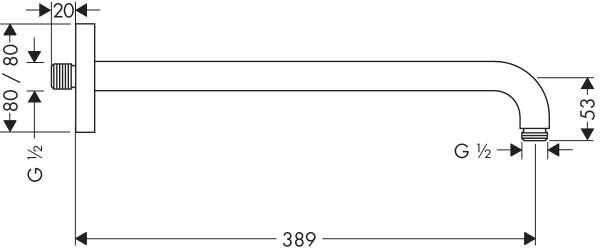 Wymiary techniczne ramienia prysznicowego Hansgrohe 27446000-image_Hansgrohe_27446000_5