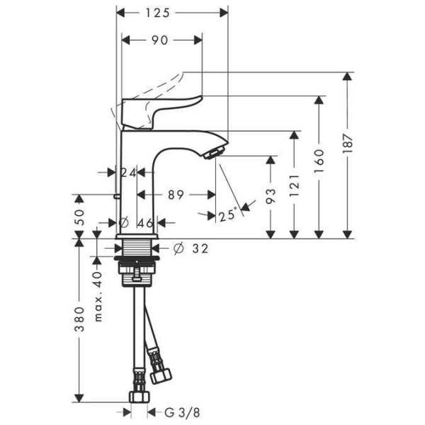 Wymiary techniczne baterii umywalkowej Hansgrohe Metris 100 31088000 -image_Hansgrohe_31088000_5
