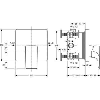 Rysunek techniczny baterii podtynkowej Strada-image_Ideal Standard_A5852AA_2