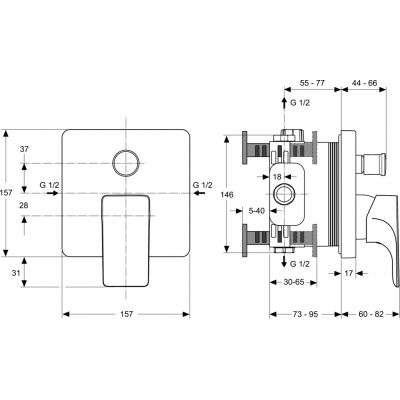 Rysunek techniczny baterii Strada -image_Ideal Standard_A5853AA_2