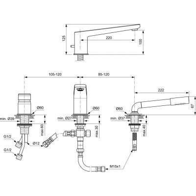 Wymiary techniczne baterii nawannowej trzyotworowej Ideal Standard A6348AA-image_Ideal Standard_A6348AA_2