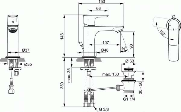 Wymiary techniczne baterii umywalkowej Ideal Standard A7008AA -image_Ideal Standard_A7008AA_2