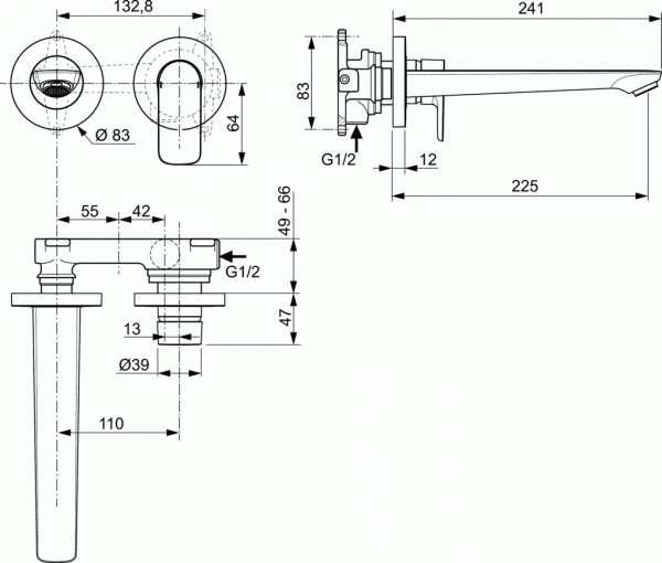 Wymiary techniczne podtynkowej armatury łazienkowej Ideal Standard A7009AA-image_Ideal Standard_A7009AA_2