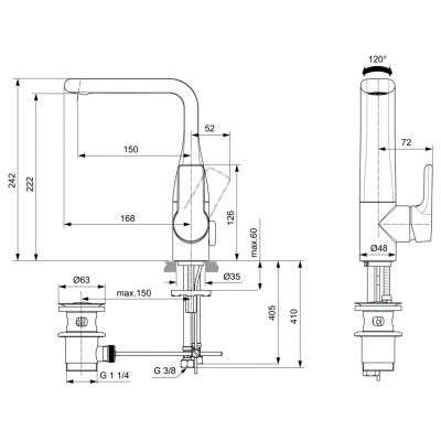 Wymiary techniczne baterii Attitude-image_Ideal Standard_A6044AA_2
